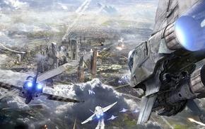 city, digital art, futuristic, artwork, spaceship