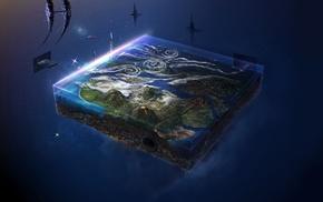 space, planet, spaceship, CG render, digital art