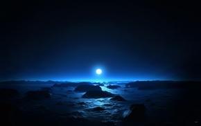 water, nature, beach, moon, rock, night