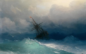 ship, classic art, Ivan Aivazovsky, painting, sea, waves