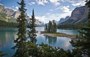 island, nature, lake, landscape, forest, trees
