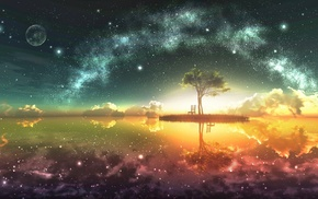 stars, trees, space art, space, fantasy art, digital art
