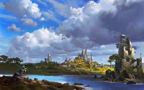 building, landscape, water, knights, castle, concept art