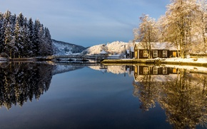 building, water, snow, trees, nature, reflection