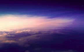 nature, stars, sunset, color correction, clouds