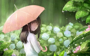 rain, white dress, umbrella, flowers, anime girls, original characters