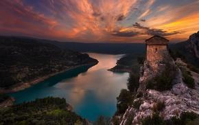 old, Spain, history, lake, landscape, nature