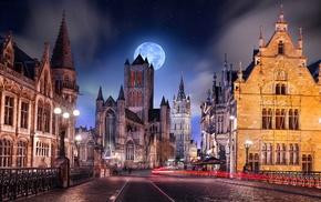 Belgium, starry night, light trails, architecture, street light, urban