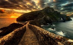 rock, path, Spain, walkway, sky, clouds