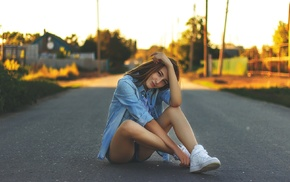 girl, sneakers, sitting, road, jean shorts, shorts