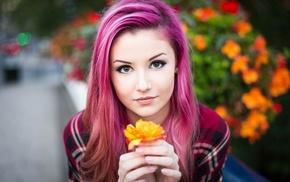girl outdoors, checkered, pierced nose, hand, portrait, long hair