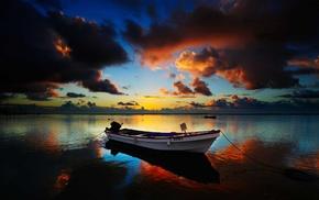 sunset, water, landscape, sea, boat