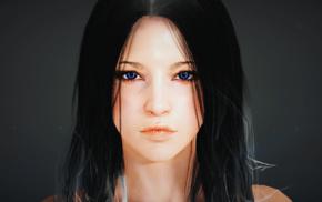 black hair, video games, Black Desert, dark hair, blue eyes