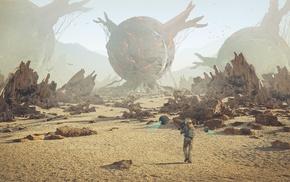 artwork, desert, futuristic, spacesuit, robot, rock