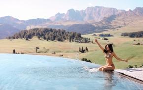 girl, model, smiling, bikini, Aurela Skandaj, water