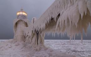 landscape, lighthouse, ice, ice storm