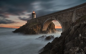 landscape, nature, bridge, lighthouse