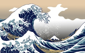 nature, blue, The Great Wave off Kanagawa