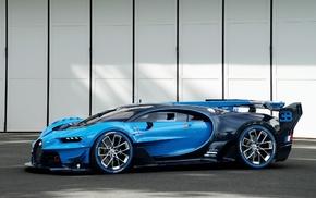 blue cars, car, Bugatti Veyron, Bugatti Vision Gran Turismo, vehicle
