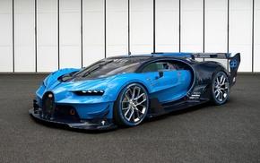 blue cars, Bugatti Veyron, car, Bugatti Vision Gran Turismo, vehicle