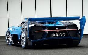 car, rear view, Bugatti, blue cars, Bugatti Vision Gran Turismo