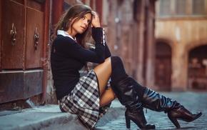 auburn hair, depth of field, street, girl outdoors, knee, high boots