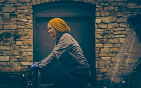 girl, blonde, woolly hat, bicycle