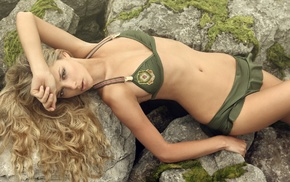 blonde, girl outdoors, rock formation, Danielle Knudson