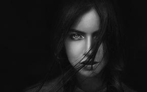 girl, face, hair in face, monochrome, Georgiy Chernyadyev