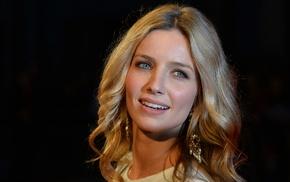 black background, blue eyes, blonde, Annabelle Wallis, face