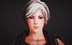 Black Desert, video games, blue eyes, white hair