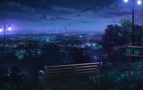 Los Angeles, bench, night