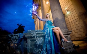 high heels, digital art, Princess Elsa, dress, blonde, legs  crossed