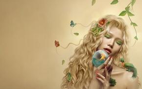 flower in hair, girl, artwork, painted nails, flowers, fish