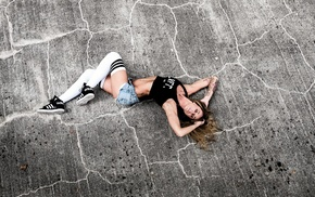sneakers, white stockings, tattoo, Adidas, skinny, on the floor