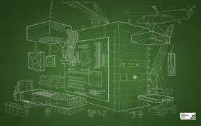 construction site, blueprints, Nvidia, simple background, computer, GPUs