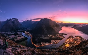 panoramas, summer, Norway, cityscape, mountain, sky