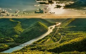 nature, mountain, valley, sunset, sky, landscape