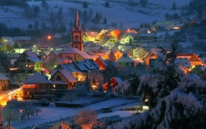 nature, street light, snow, hill, lights, France