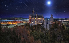 palace, Neuschwanstein Castle, Germany, starry night, fall, trees