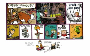 simple background, Calvin and Hobbes, comics