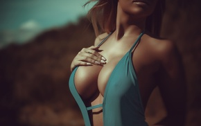 boobs, girl, cleavage, bare shoulders, long hair, depth of field