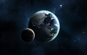 moon, stars, space, CG render, Earth, planet