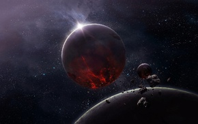 stars, moon, space, planet, CG render, asteroid