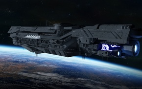 planet, spaceship, space, CG render, UNSC Infinity