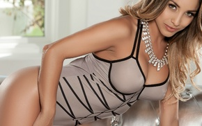 cleavage, sensual gaze, bent over, bare shoulders, model, one
