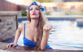 cleavage, blue eyes, red lipstick, model, lingerie, blonde