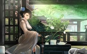 hair bun, cat, kimono, smoking, original characters, flower in hair