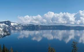 multiple display, landscape, snow, lake, crater lake, reflection