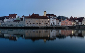 Germany, city, Regensburg, reflection, river, multiple display
